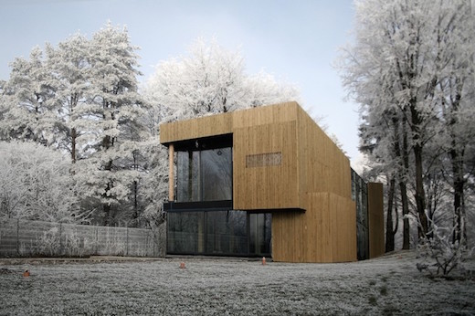 The main aim of the project was to create a sustainable, two-story home which would blend into its forest surroundings.